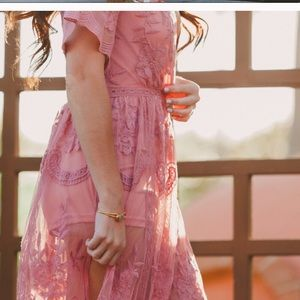 Pink lace maxi overlay dress with a romper under