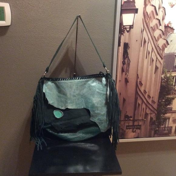 f88621d8c8 Etsy Handbags - Green boho leather fringe XL bag