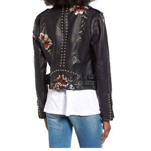 Blank NYC Jackets & Coats - BLANKNYC Embroidered Faux Leather Moto Jacket-S