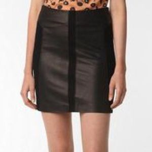 BB Dakota Genuine Leather Paneled Mini Skirt