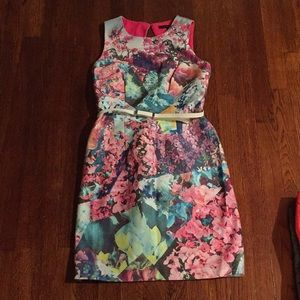 Cynthia Steffe Floral Dress with White Belt