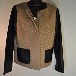 Talbots Boucle and Faux Leather Jacket