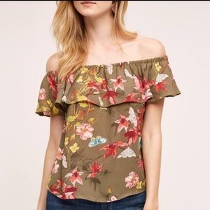 Anthropologie Maeve Vallita Off-Shoulder Top.
