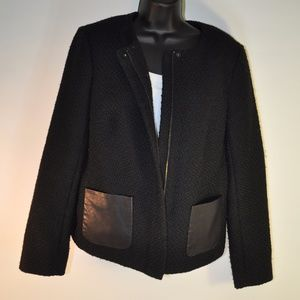Talbots Boucle Jacket With Faux Leather Pockets