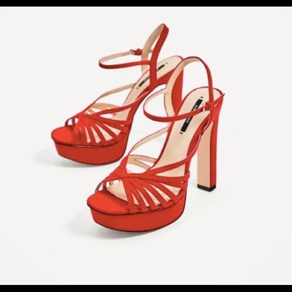 de10f0d9215 Zara NWT red strappy platform heels size 41  10