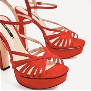 12b9ff3abd0 Zara Shoes - Zara NWT red strappy platform heels size 41  10