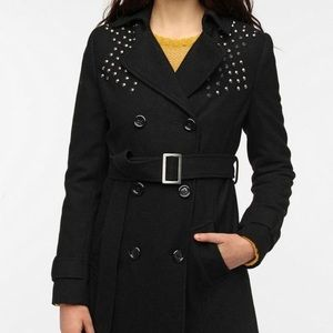 Black Studded Wool Peacoat - Size small