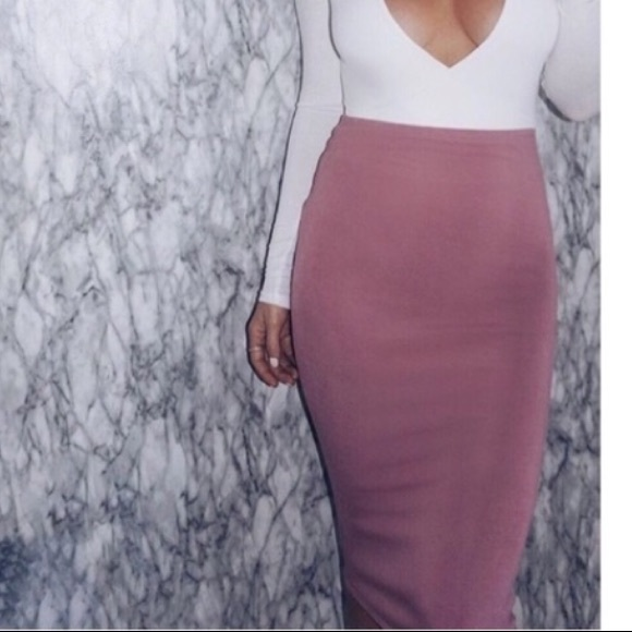 search for latest top-rated official online for sale Dusty Rose bodycon midi Skirt - NEW! NWT