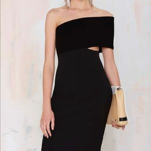solace london black dress one shoulder mini piano