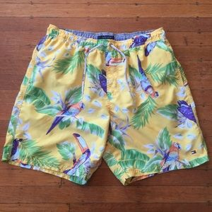 Tommy Hilfiger Swim Trunks Bird Parrot Tucan Palm