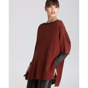 Vince Ribbed Poncho in Henna Cashmere Blend S NWT