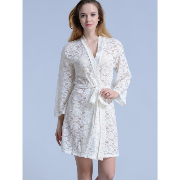 outlet for sale professional wide selection of colours and designs Bridal white lace kimono robe NWT