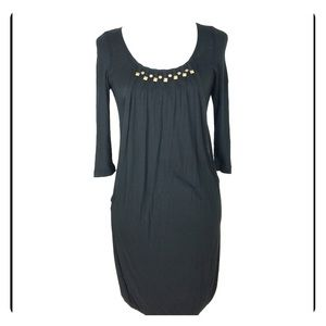 Black Long Sleeve Studded Scoop Neck Bubble Dress