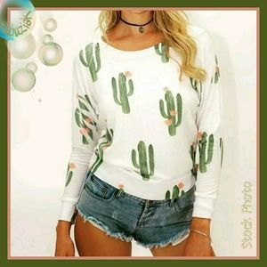 Tops - ⚡Flash Sale ⚡Winter Bloom Cactus Long Sleeve Top