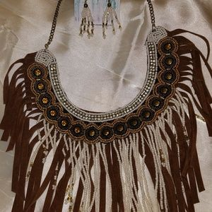 Jewelry - Western Boho fringed necklace & earrings set