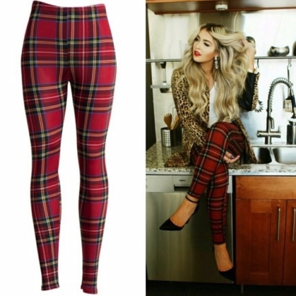 Pants - Holiday Plaid Jersey Slinky Red Leggings Pants