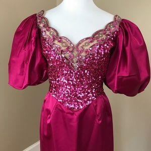 Vintage 80's Prom Party Dress Gown Magenta Sequins