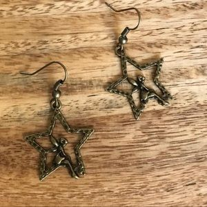 Antiques Brass Fairy Star Earrings