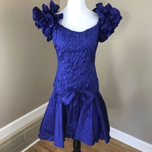 Vintage Blue 80's Prom Party Dress Gown