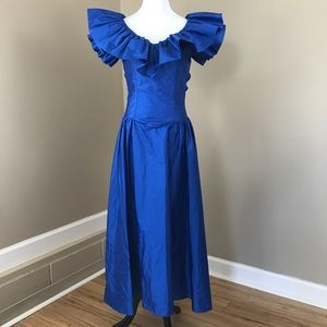 Vintage 70's 80's Prom Dress Gown Blue Ruffles