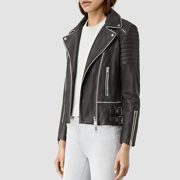 16220862dd Allsaints Bixer Piped Biker Jacket US 0 2