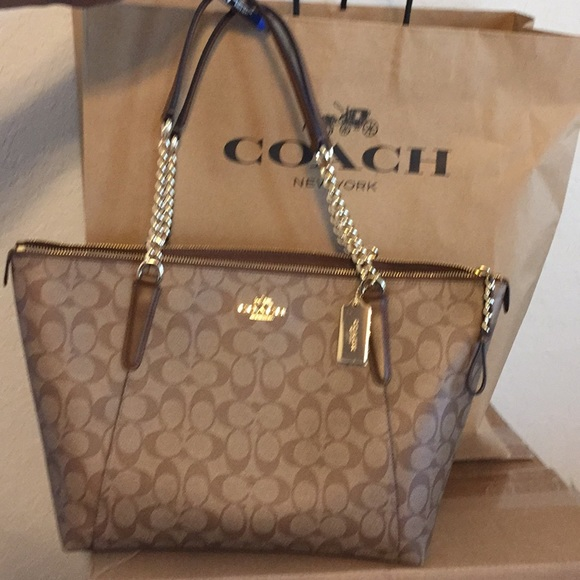 big selection of 2019 speical offer cute cheap COACH Signature Ava chain tote NWT
