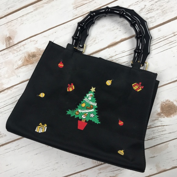 Christmas Tree Bags.Tianni Black Beaded Christmas Tree Holiday Purse