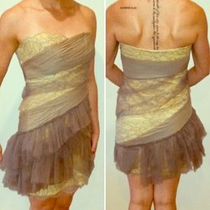 BCBG RUNWAY strapless yellow and gray lace dress