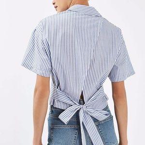 Topshop Stripe Tie Shirt