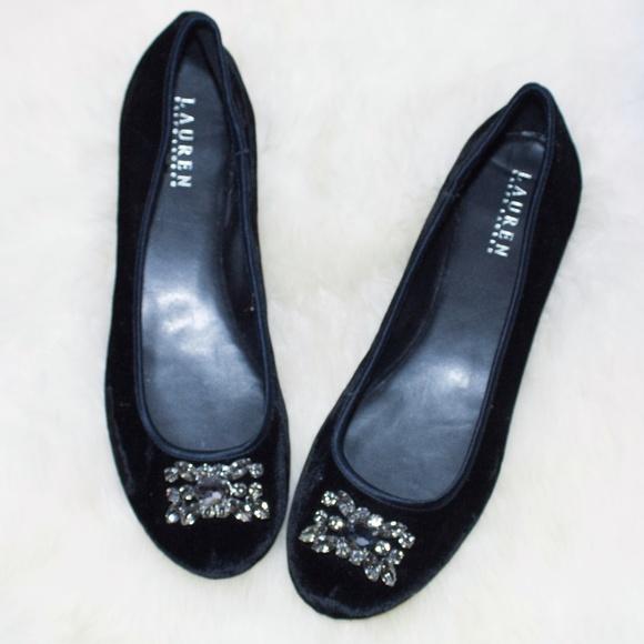 0dd0f14feed0 Lauren Ralph Lauren Shoes - Ralph Lauren Velvet Embellished Ballet Flats