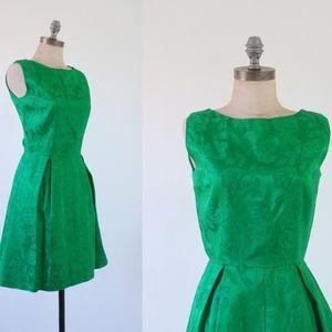 vintage green dress   vintage 1960s damask dress