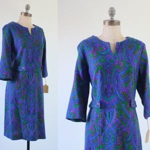 vintage 60s dress | vintage abstract paisley dress