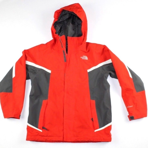 39b7a226b The North Face HyVent Boys Hooded Rain Jacket Red
