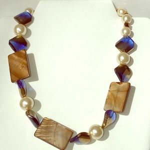 Jewelry - Necklace, Blue Gold Pearls, Hand Crafted