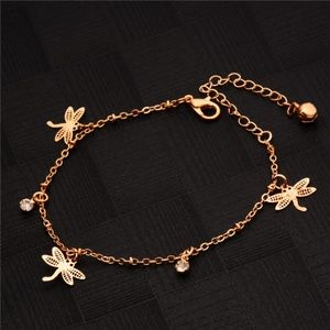 Jewelry - Gold Dragonfly Crystal Charm Bracelet / Anklet