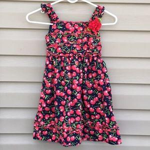 Youngland Girls Navy Dress with cherry print