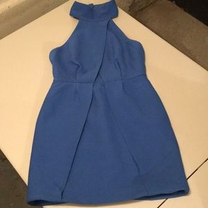 High neck blue dress with keyhole back