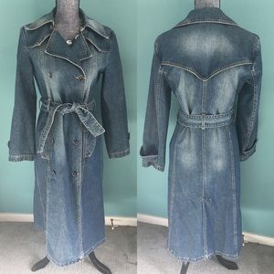 Trafaluc Zara Denim Trench Coat Jean Jacket Duster