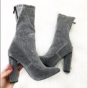 Shoes - •SALE• Silver Glittery Sock Booties