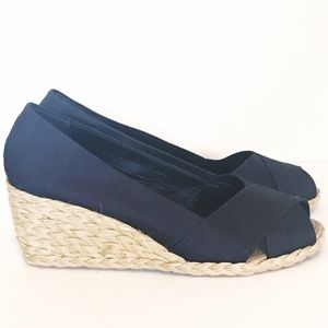 0be96f5c448 Lauren CECELIA Espadrille Wedges NAVY Size 9