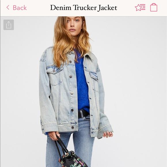 75825a41f9f5 Free People Jackets   Blazers - Free People Oversized Denim Trucker Jacket  ...