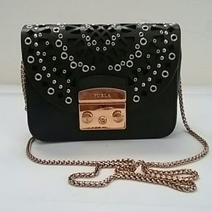 Furla Metropolis Bolero Mini black leather grommet