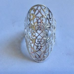Jewelry - Ornate Silver Filigree Oval Statement Ring