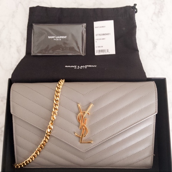 8807312e897c YSL Monogram Chain Wallet in Oyster Grey