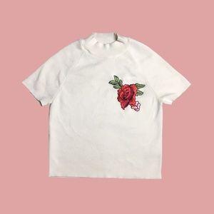 asos rose knit turtleneck tee