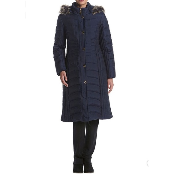 ed496f508 Anne Klein • Long Down Quilted Hooded Coat