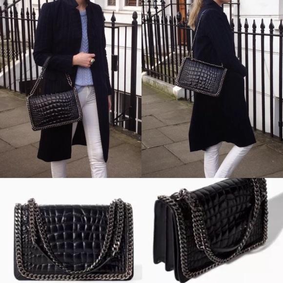 4aa068d73857 Zara Woman Leather Croc Chain City Bag Purse. M_5a1c556c2de51220000ca5ea