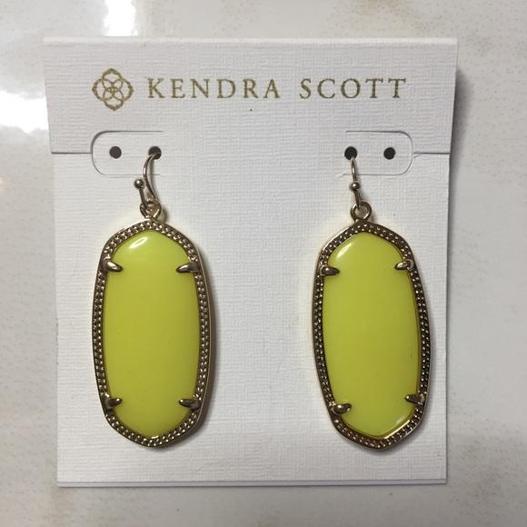 8b3da38d8f512 Vintage Kendra Scott neon yellow Elle earrings