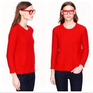 J.Crew • Red Cable Knit Sweater