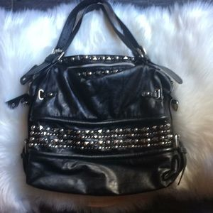 Large black purse with silver accents